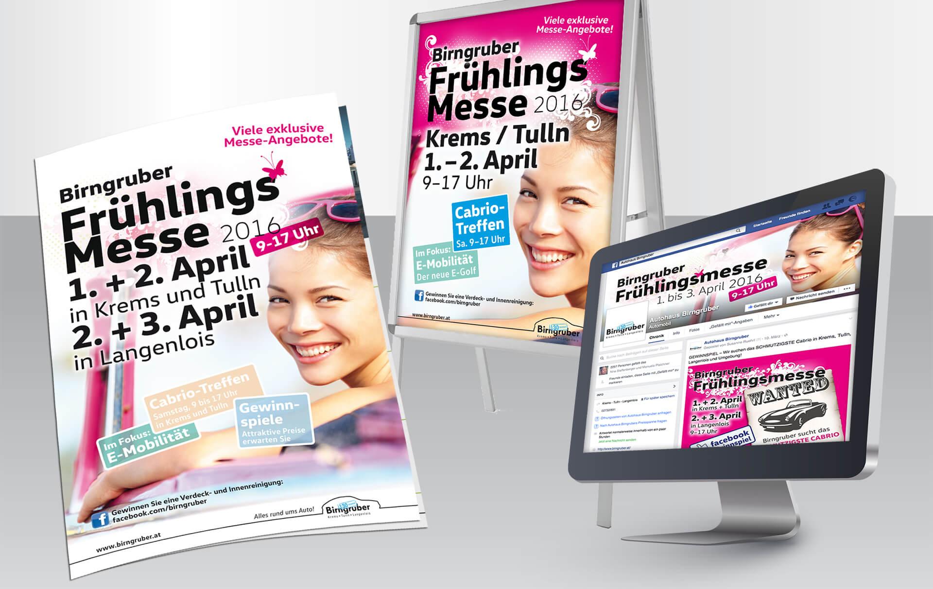 Birngruber Frühlingsmesse Plakat, Facebook und Folder