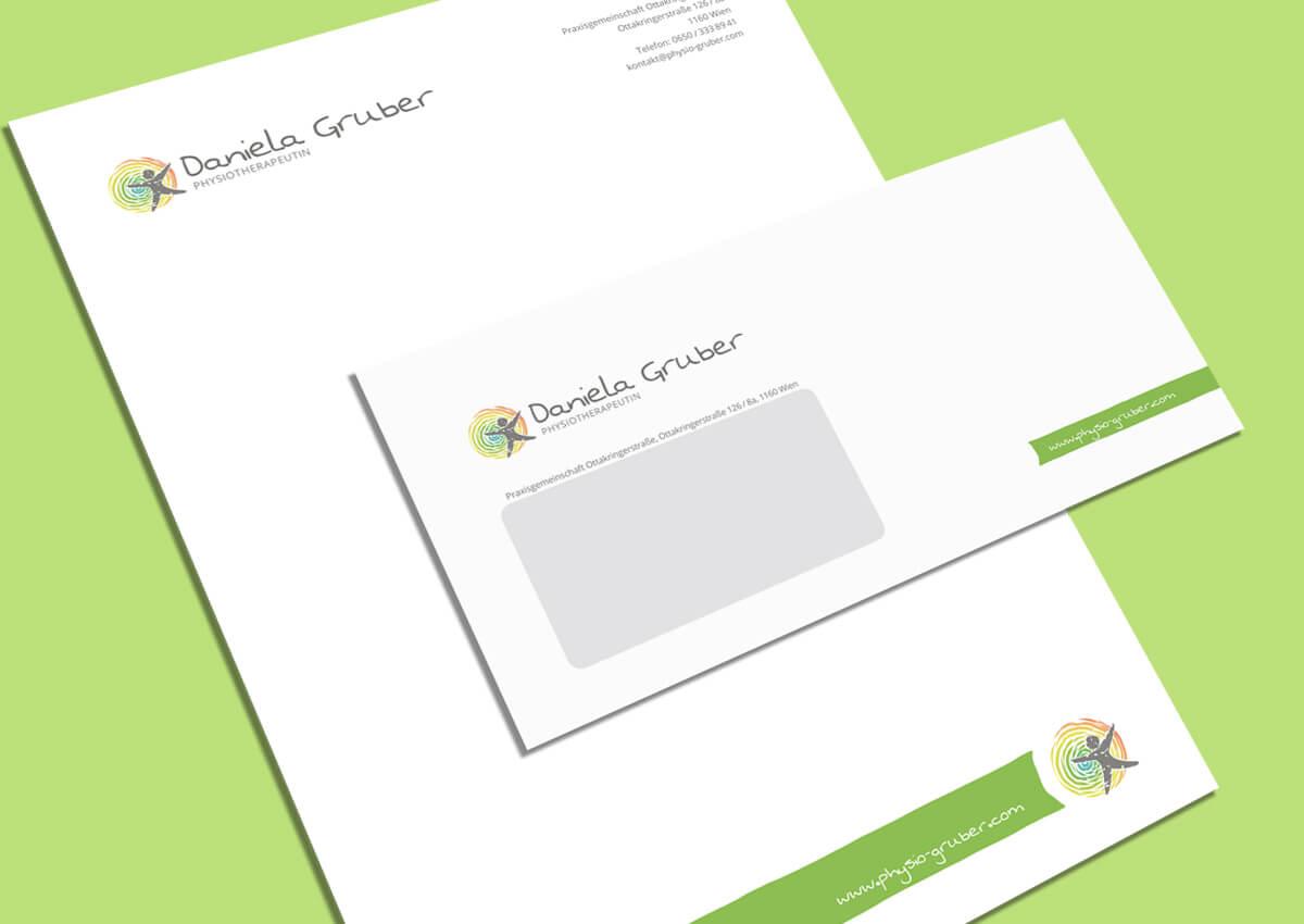 Physiotherapie Daniela Gruber Briefpapier und Kuvert